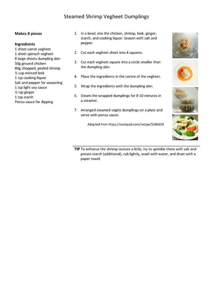 Steamed Shrimp Vegheet Dumplings Recipe